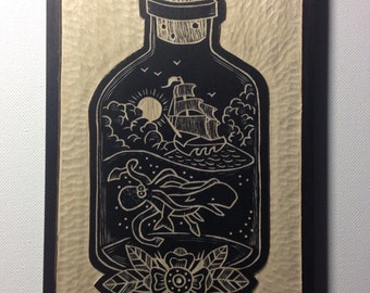 ON SALE NOW!!! Hand Carved Ship in a Bottle Wall Art / Woodcut