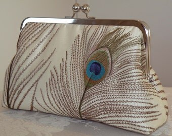 Peacock Feathers Silk Clutch/Purse/Bag/Bridesmaid..Ivory..Something New Bridal Blue..Long Island Bride Wedding Handmade Gift..Free Monogram