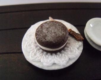 1.12th Scale Dolls House Miniature Food item, Chocolate and Cream Sponge Cake