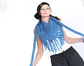 Chunky cotton triangle fringe scarf - Peacock Blue