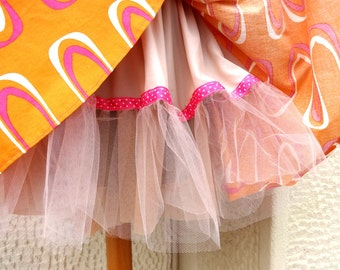 SALES! SKIRT / under 50 usd/ Orange Full with Tulle Petticoat and Elastic Band
