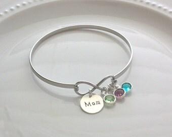 Infinity Bracelet - Personalized Mom Bracelet - Birthstone Bangle Bracelet - Mother's Day Gift - Personalized Mom Jewelry