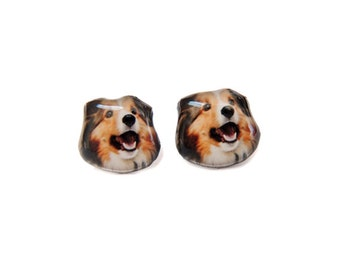 Collie Dog Stud Earrings - A025ER-D10   Made To Order