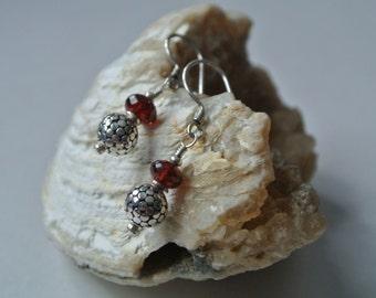 Bali Silver-Garnet Drop Earrings- January Birthstone