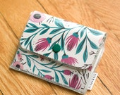Accordion Wallet - Purple and Teal Flowers