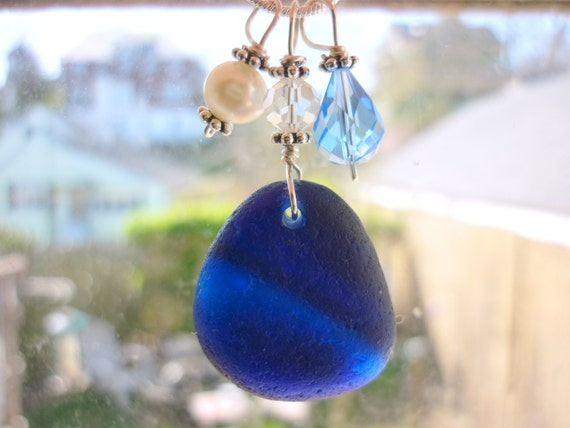 Blue Sea Glass Necklace Beach Glass Necklace Jewelry English Sea Glass Sterling