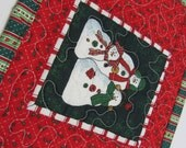 Snowman Mug Rug, Quilted Mini Place Mat, Christmas Mug Rug Holly Red Green