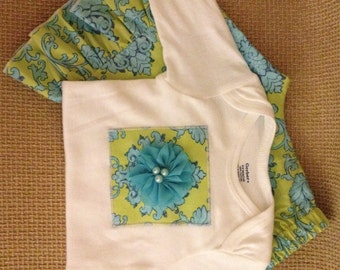 Appliqued Bodysuit with matching Ruffled Pants...Baby Gift...Ready to Ship...Size 6-9m
