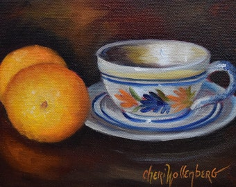 Still Life Painting, French Teacup Saucer Pottery and Brilliant Oranges, 6x8 Original Oil Painting by Cheri Wollenberg