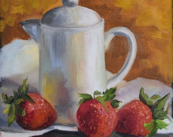 Kitchen Still Life Painting, Strawberries and White Creamer, Canvas Original Oil by Cheri Wollenberg