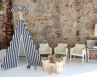 Kids teepee tent - MIDI size - Black+White stripes