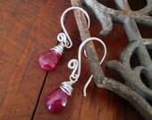 Ruby briolette earrings, wire wrapped ruby briolettes, Valentine's day earrings, Valentine's day gift, ruby red earrings, red earrings