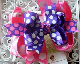 NEW---Big Boutique Triple Layered Hair Bow Clip-----Summer Splash----Hot Pink and Purple----