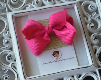 New Item----Little Baby Toddler Girl Hair Bows 2.5 inchClip or Headband----Shocking Pink----Ready to Ship