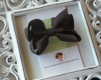 New Item----Little Baby Toddler Girl Hair Bows 2.5 inch----Brown----Ready to Ship