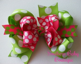 NEW----Big Boutique Doubled Layered Hair Bow Clip----Summer Splash----Shocking Pink and Lime Green