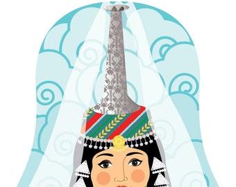Lebanese (tall headdress) Wall Art Print with cultural dress drawn in a Russian matryoshka nesting doll shape