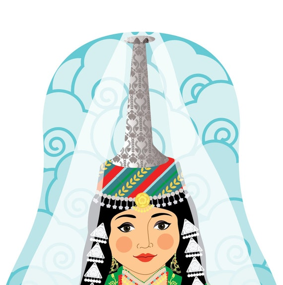 Lebanese (tall headdress) Wall Art Print with cultural dress drawn in a Russian matryoshka nesting doll shape