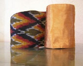 Wrap Obi belt-Double side Obi belt sash-Gift for her- Bold belt-Evening and casual wear-Bronze and fire pattern-Ready to ship