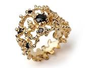 CORAL Black Diamond Ring, 14k Yellow Gold Black Diamond Band, Wide Gold Ring, Black Diamond Wedding Band, Unique Wedding Band