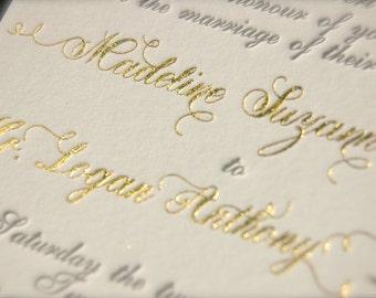 Gold Foil Monogram and Charcoal Letterpress Wedding Invitations, Laurel Wreath Monogram Invites, Gold Hot Foil Stamped, Foil Letterpress