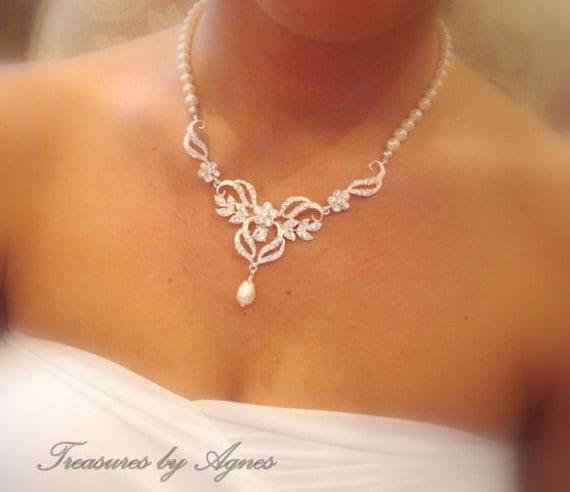 Bridal jewelry SET, Bridal necklace Set, Crystal Bridal earrings, Wedding jewelry SET, Pearl Wedding necklace, Pearl earrings, Swarovski