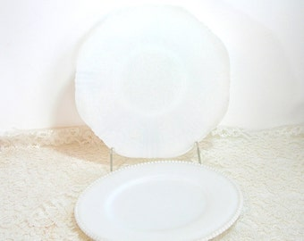 Milk Glass Plates - Beaded Edge - Moonstone - Lacy - Cake Plates