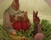 Momma with Peter Rabbit, Cottontail,Floppsy and Moppsy  small Panoramic Sugar egg