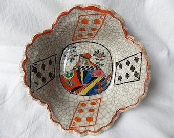 Vintage Queen of Hearts Playing Card Pottery Bowl Hand Painted Japan