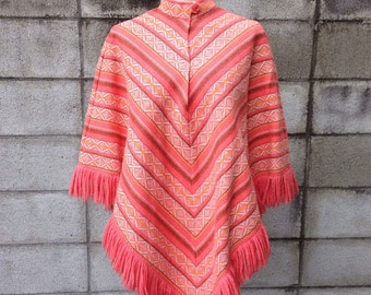 Wool Cape Poncho Vintage 1960s Coral Woven Women's