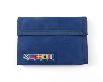 Merit Velcro Wallet Vintage 80s 1980s Flags Nautical Blue