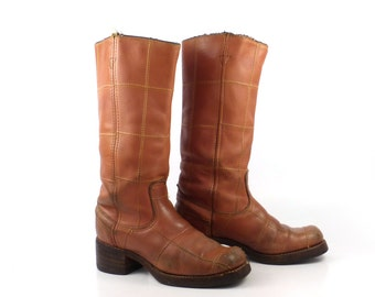 Campus Leather Boots Vintage 1970s Carmel brown Cowboy Wrangler Women's 7