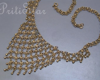 Silver Bib Necklace Ethnic Filigree Flower old gilt Jewelry