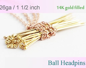 14K Gold filled Ball Headpins 1.5 inch, 50pcs 100pcs- 26 gauge GF ball end head pins, made in USA wholesale Jewelry Supply(1203)