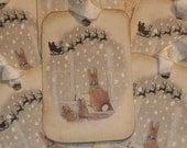 Holiday Tags, Christmas Tags, Woodland Christmas Tags, Christmas Bunny Tags, Christmas Gift Tags