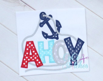 Ahoy Embroidery Applique Design