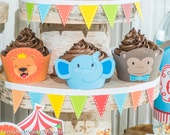 circus animal carnival jungle party printable cupcake decor cupcake wrapper flags lion monkey elephant baby shower decoration DIY kit