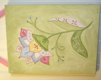 Girls flower original canvas painting 11 x 14 Baby nursery decor Children wall art Kids room Pink green Jacobean scrolls Shower gift artwork
