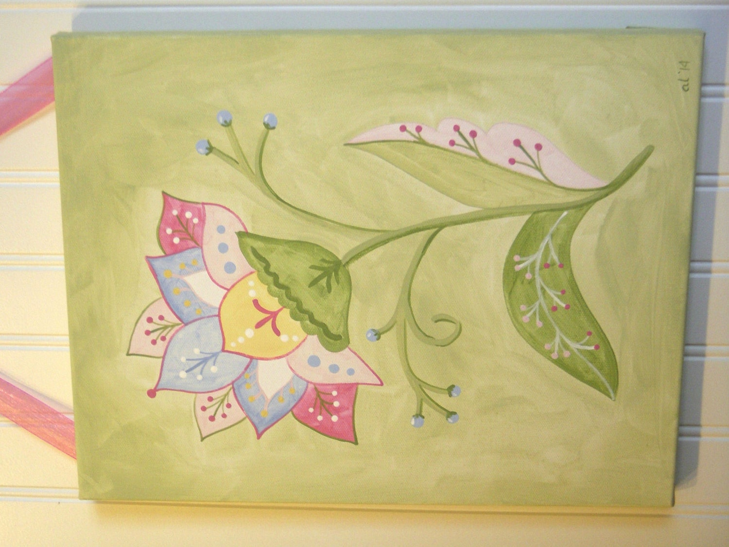Girls flower original canvas painting 11 x 14 Baby nursery