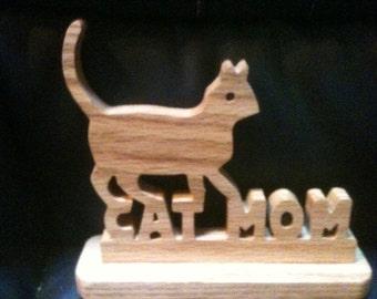 Wooden handmade Cat Mom display sign