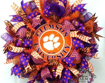 Clemson University Tigers Wreath -Clemson Tiger Paw Wreath - Back to School -Orange Purple -Clemson Decor