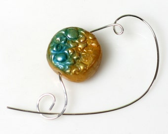 Handmade Polymer Clay Bead Shawl Pin, Scarf Pin, Brooch - Jewelry Brooch, Scarf Accessory, OOAK Gift Idea, Gold and Turquoise