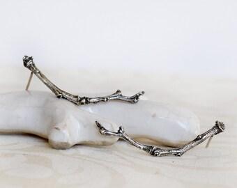 Twig Sterling Silver Earrings - Organic tree branch Earrings 40 mm