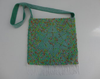 VINTAGE 1970s green and multi color BEADED shoulder BAG