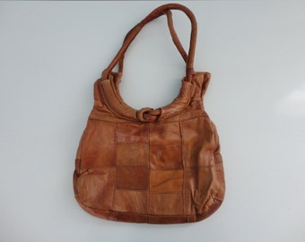VINTAGE caramel patchwork LEATHER PURSE