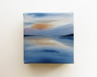 original mini oil painting of the sea with reflection of the sky