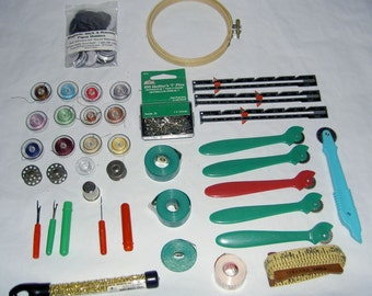 Destash - Sewing Notions - Everything in Pictures (Bobbins, Pins, Thimble, Tracing Wheels, Tapes, Hoop, Beads, Guides, Tools, Magnetic Disc)