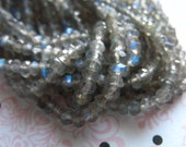 Shop Sale..LABRADORITE Beads Rondelles, Faceted, Luxe AAA, 1/2 Strand, 3-3.25 mm, Gray, tons of blue flashes, wholesale true
