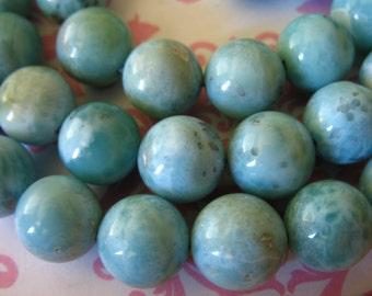 Shop Sale.. 2 5 10 pcs, LARIMAR Beads, Round Smooth, 9.25-9.5 mm, LUXE AA, Aqua Blue, Dominican Republic, roundgems.9 true