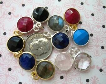 10% Off Sale..  Gemstone Connectors Pendant Charm, Bezel Set, Steling Silver or 24k Gold Vermeil, 14x11 mm, Round, gcp6